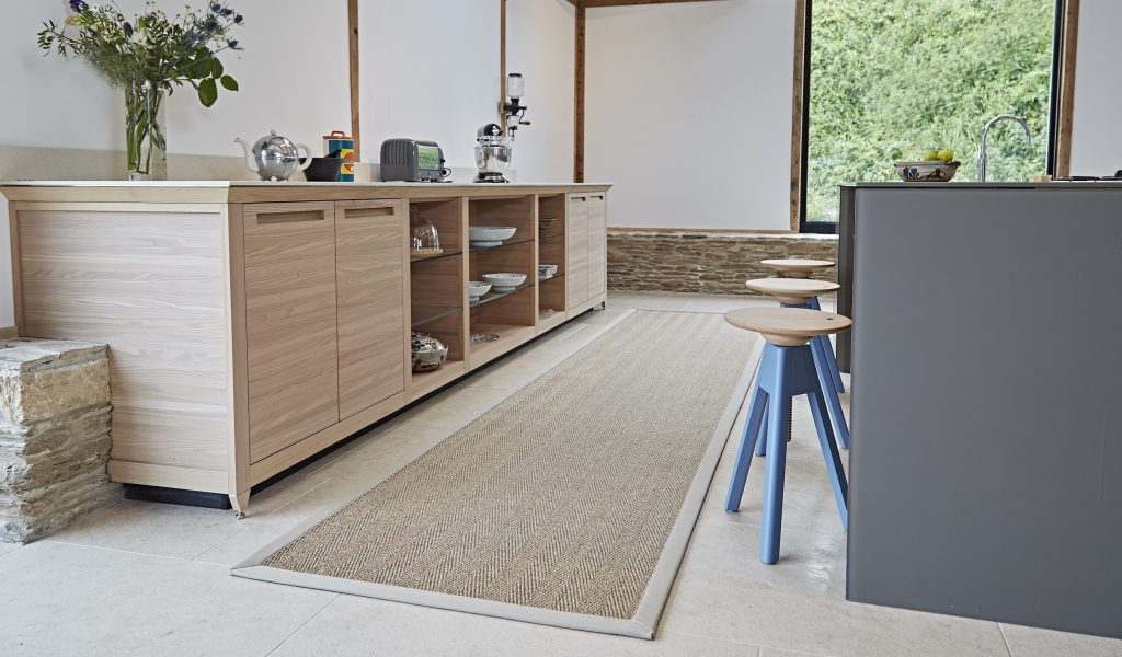 Fibre SISAL HAVANA ORE runner with Sandstone cotton binding in kitchen