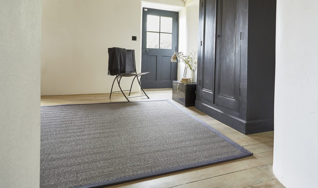Sisal Havana Titanium rug with Charcoal Cotton Border