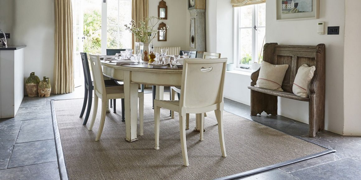 sisal rug in kitchen